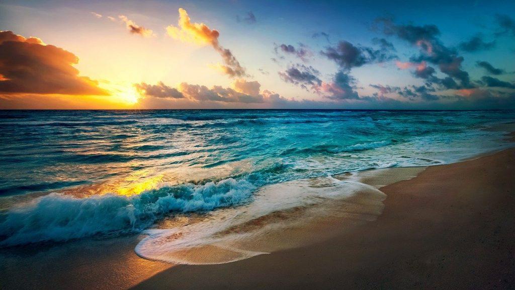 beach, sun, evening